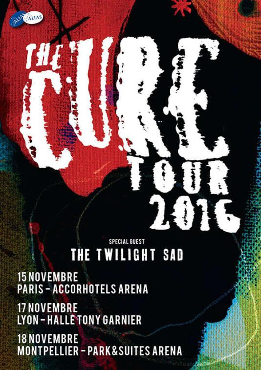 L'affiche des concerts en France de The Cure lors de leur tournée européenne à l'automne 2016.