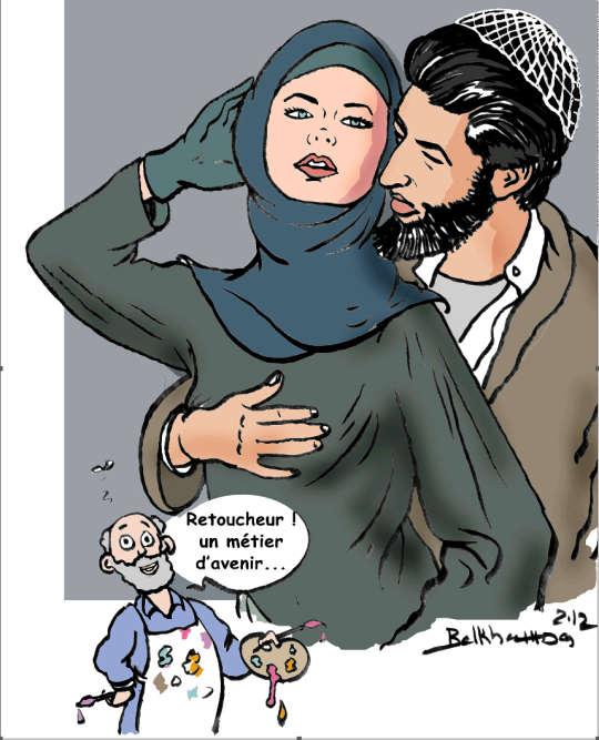 En 2012, une photographie suscite le scandale dans les milieux conservateurs de Tunisie. On y voit une mannequin allemande nue et le footballeur allemand, de père tunisien, Sami Khedira, cachant son sein avec sa main. Le caricaturiste Chedly Belkhamsa parodie alors l'image pour se jouer des censeurs et habille le couple d'un niqab et d'une chechia. Certains fondamentalistes s'étranglent. A LaPresse, ses chefs l'invitent à faire attention, faisant état de menaces. Lire la suite dans l'article de Frédéric Bobin.
