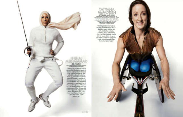 L'escrimeuse Ibtihaj Muhammad et la sprinteuse paralympique Tatayana McFadden dans le «Elle »américain.