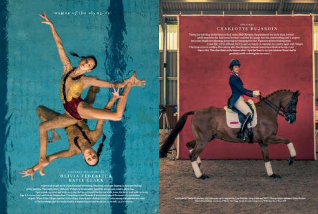 Les championnes de natation synchronisée Olivia Federici and Katie Clark, et la cavalière Charlotte Dujardin.