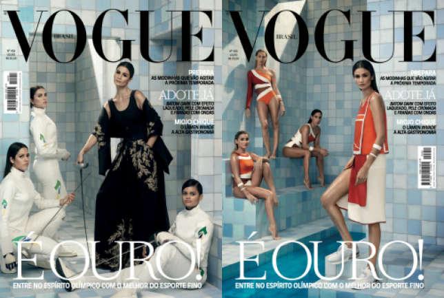 Des athlètes brésiliennes posent avec la top-modèle Caroline Ribeiro pour la couverture du «Vogue» Brésil.
