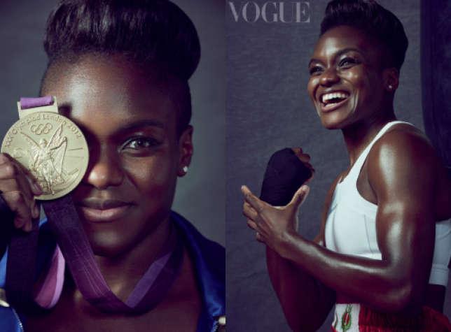 La boxeuse Nicola Adams, première médaillée olympique féminine, pose pour le «Vogue» britannique.