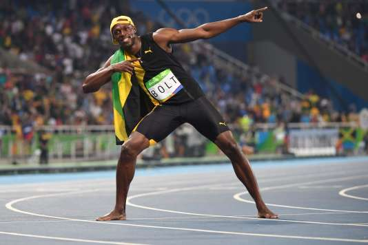 Usain Bolt tout à sa joie.