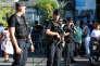 Des policiers patrouillent à Lourdes, le 15 août.