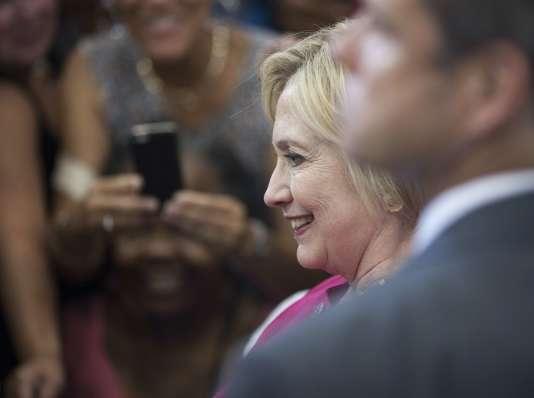 La candidate démocrate Hillary Clinton, le 16 août à Philadelphie, lors d'une rencontre visant à inciter les Américains à aller voter.