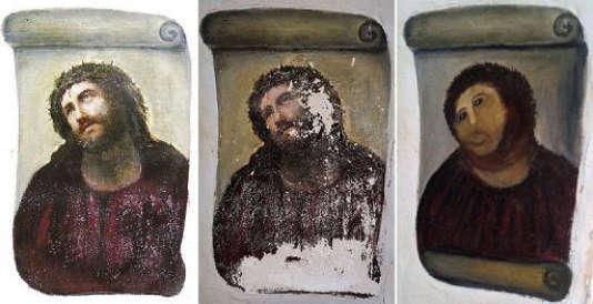 Le «Ecce Homo» du peintreElias Garcia Martinez et sa «restauration» désastreuse parCecilia Gimenez dans un sanctuaire de la ville de Borja, en Espagne.