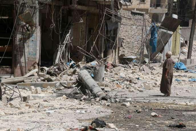 A Alep après les frappes russes le 16 août.