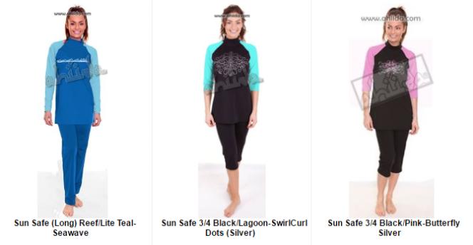 Capture d'écran de modèles de maillots «sun-safe» sur le side d'Aheda Zanetti, sur le modèle du burkini, mais sans couvrir les cheveux.