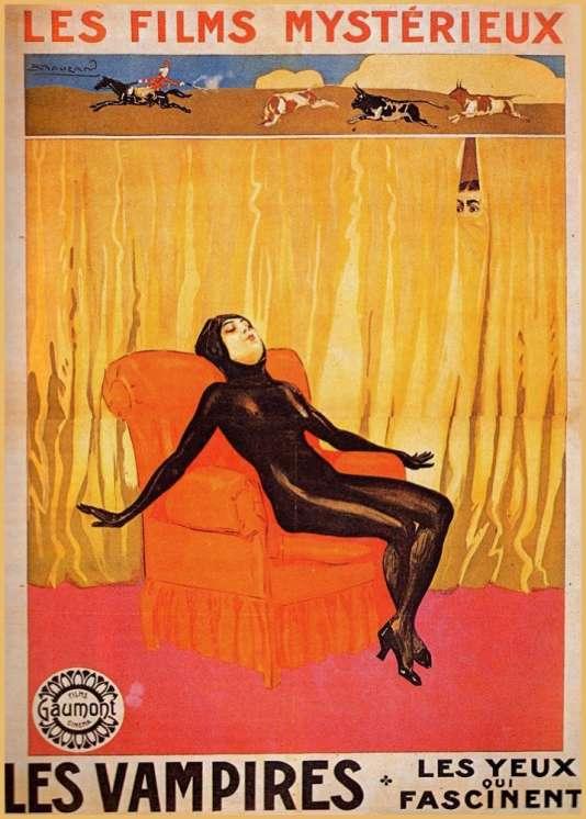 Affiche du sixième segment sorti en mars 1916 des« Vampires» de Louis Feuillade, film muet en dix épisodes mettant en vedette Musidora dans le rôle de la femme fatale Irma Vep.