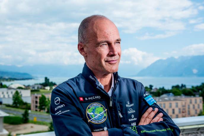Bertrand Piccard, photographiésur le toit des bureaux de Solar Impulse, à Lausanne,le 10 août 2016.