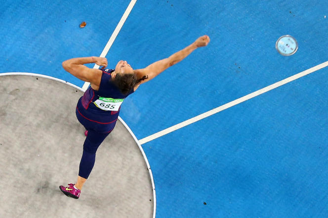 The French Mélina Robert-Michon during the Olympic discus throwing competition, July 15, 2016 in Rio de Janeiro