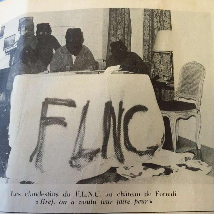 Photo parue dans le journal Ribombu après explosion de la villa corse de Jean d'Ormesson.
