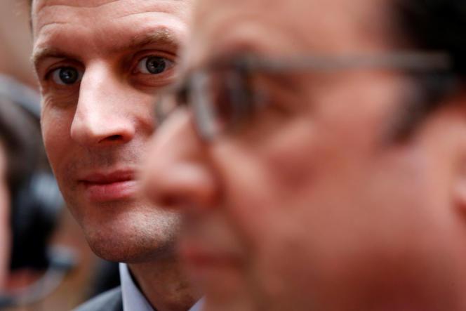 François Hollande et Emmanuel Macron en mars 2016.