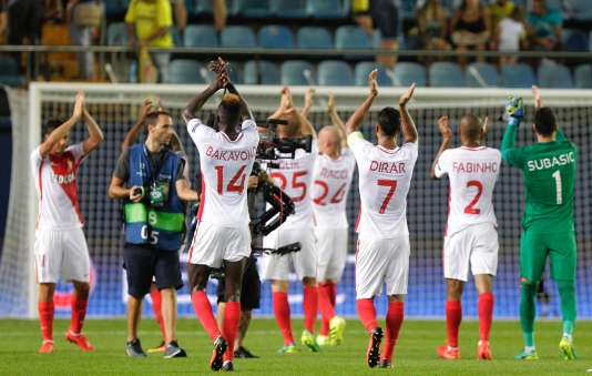 Les joueurs de Monaco célèbrent leur victoire sur le club espagnol de Villareal, le 17 août.