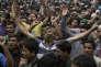Manifestation lors des obsèques, le 16 août, près de Srinagar, de quatre Cachemiris tués par l'armée indienne.