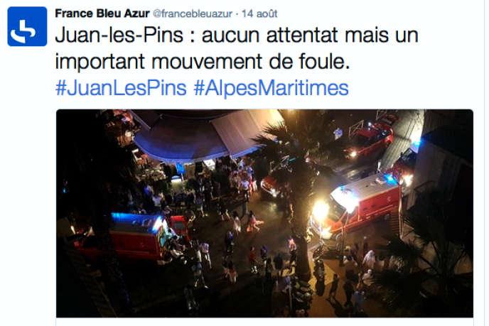 Message twitter de la station France Bleu Azur le soir du 14 août 2016.