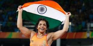 La lutteuse indienne Sakshi Malik a remporté la médaille de bronze chez les moins de 58 kg, le 17 août, à Rio.