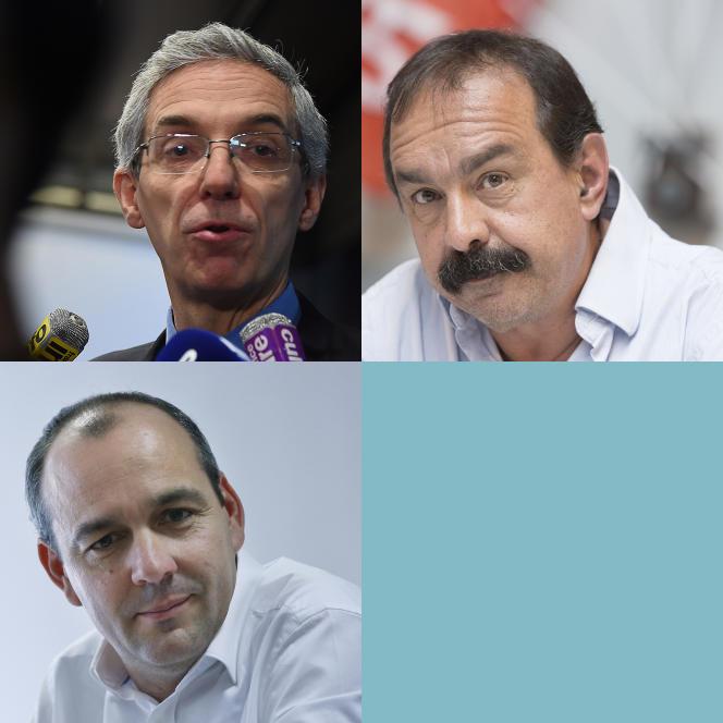 En haut à gauche Alexandre Saubot, à droite Philippe Martinez, en bas Laurent Berger.