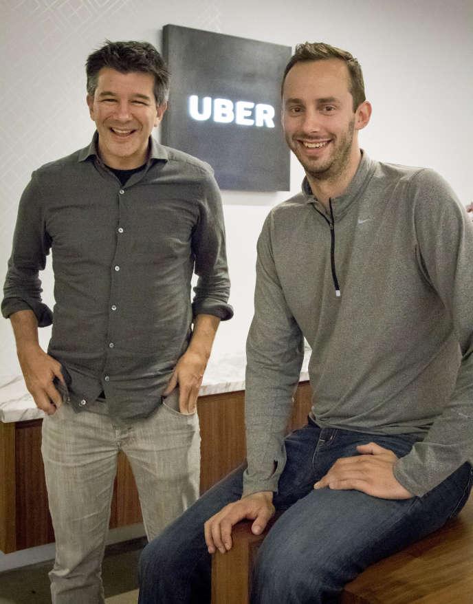 « Constituer une équipe pour monter un projet entrepreneurial n'est pas évident : « On a tous tendance à traîner avec des profils qui nous ressemblent, alors qu'il faut des compétences différentes et complémentaires », témoigne un participant (Photo:Travis Kalanick, Uber, à gauche, et, Anthony Levandowski, cofondateur d'Otto, à San Francisco).
