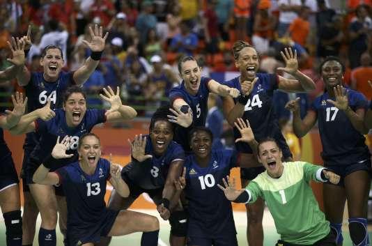L'équipe de France de handball, le 18 août à Rio.