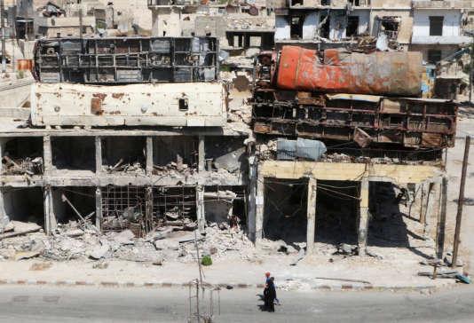 Les ruines du quartier Bab al-Hadid àAlep, détenu par les rebelles, le 18 août.