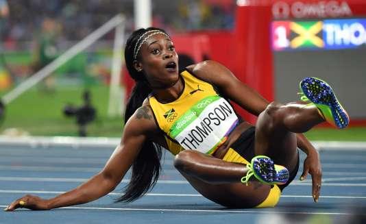 La Jamaïquaine Elaine Thompson après sa victoire en finale du 200 m, le 17 août.