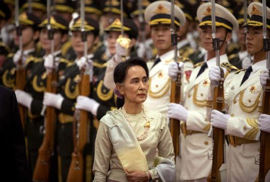 Aung San Suu Kyi, lors de sa visite à Pékin, le 18 août.