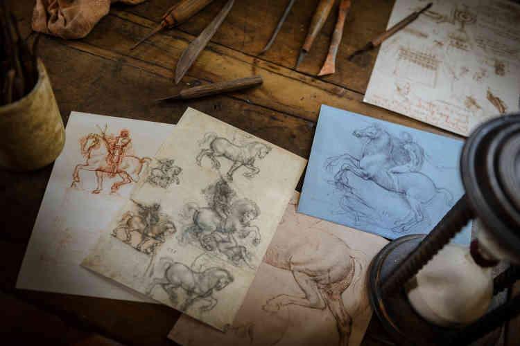 Parmi les nombreux dessins exposés dans cet atelier, on trouve notamment des fac-similés des esquisses montrant le soin qu'il porte à l'anatomie du cheval.