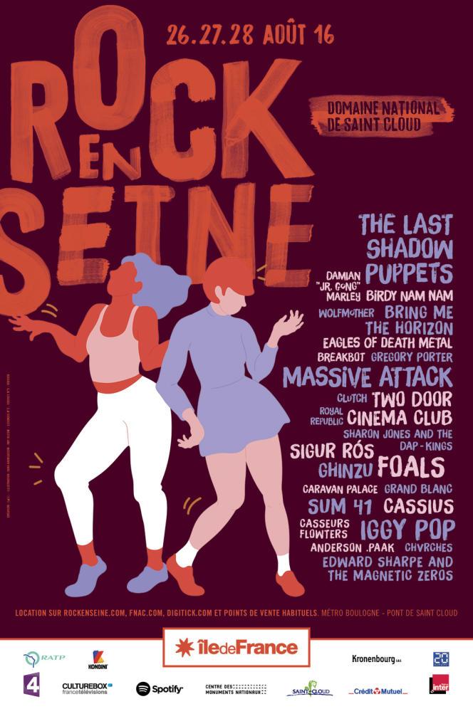 L'affiche du festival Rock en Seine, au Domaine national de Saint-Cloud.