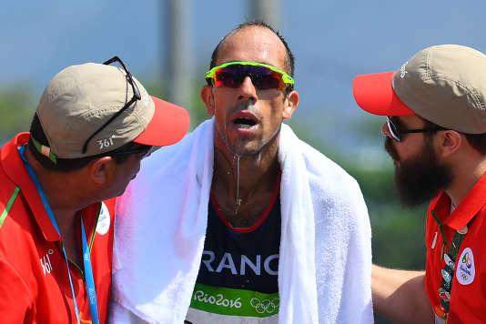 Yohann Diniz à l'arrivée du 50 km marche, le 19 août, à Rio.
