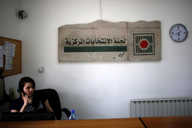 Dans les locaux de la commission électorale palestinienne, à Al-Birah, en Cisjordanie, le 17 août.