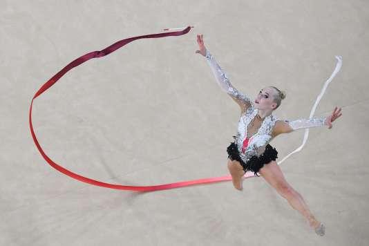 Kseniya Moustafaeva lors des épreuves de qualification, vendredi 19 août. / AFP