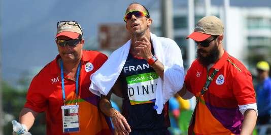 Yohann Diniz à l'arrivée du 50 km marche, vendredi 19 août.