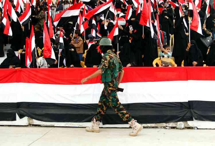 Les forces de sécurité des rebelles houthistes durant la manifestation pro-Houthis du samedi 20 août, à Sanaa.