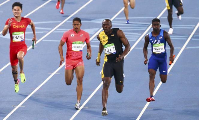 Bolt a pris le large dans la dernière ligne droite, devant Cambridge (Japon) et Brommell (Etats-Unis).