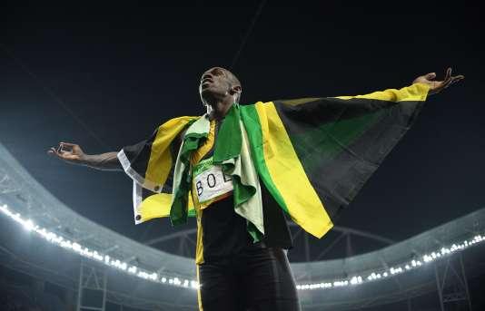 Usain Bolt après la victoire de la Jamaïque dans le relais 4 × 100 m.