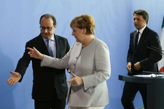 François Hollande, Angela Merkel et Matteo Renzi, en juin à Berlin.