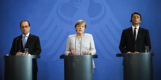 François Hollande, Angela Merkel et Matteo Renzi.