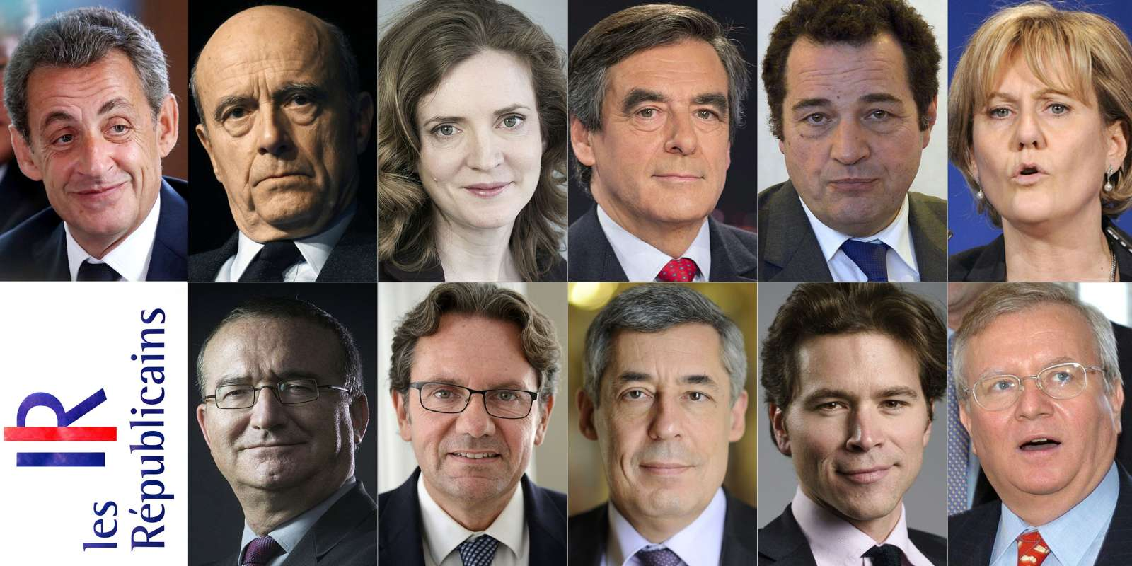 (COMBO) This combination of file pictures created on August 22, 2016 shows the 13 candidates who are so far running for the right-wing primaries ahead of the 2017 French presidential election. (Top from left) Nicolas Sarkozy, Alain Juppe, Nathalie Kosciusko-Morizet, Francois Fillon, Jean-Frederic Poisson, Nadine Morano, and Bruno Le Maire. (Bottom from left) Herve Mariton, Frederic Lefebvre, Henri Guaino, Geoffroy Didier, Jacques Myard, and Jean-Francois Cope. / AFP / POOL / MEHDI FEDOUACH AND JOEL SAGET AND KENZO TRIBOUILLARD AND BERTRAND GUAY AND JEAN-CHRISTOPHE VERHAEGEN AND JEAN-PIERRE CLATOT AND MARTIN BUREAU AND ERIC FEFERBERG AND JEAN AYISSI AND François NASCIMBENI