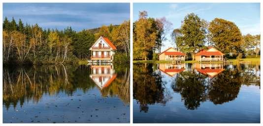 Le lac Manicouagan, dans la province de Québec, au Canada (à gauche), et le calme d'un étang dans les Vosges saônoises (à droite).