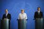 François Hollande, Angela Merkel et Matteo Renzi, à Berlin, le lundi 27 juin.