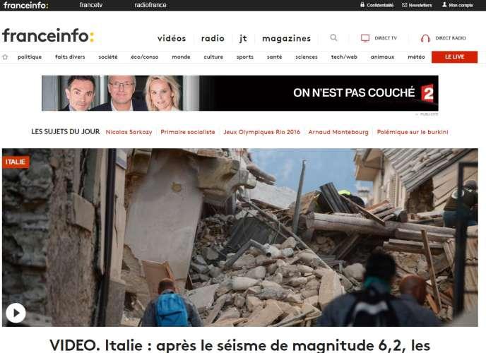 Une capture du site de France Info, mercredi 24 août.
