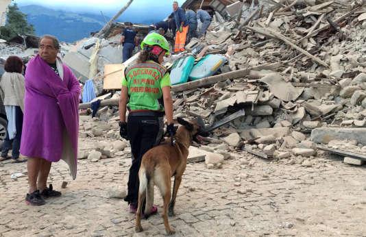 Une secouriste avec un chien, à Amatrice, mercredi 24 août.