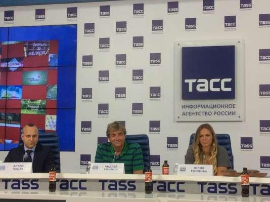 Ioulia Efimova lors de sa conférence de presse à Moscou, le 24 août.