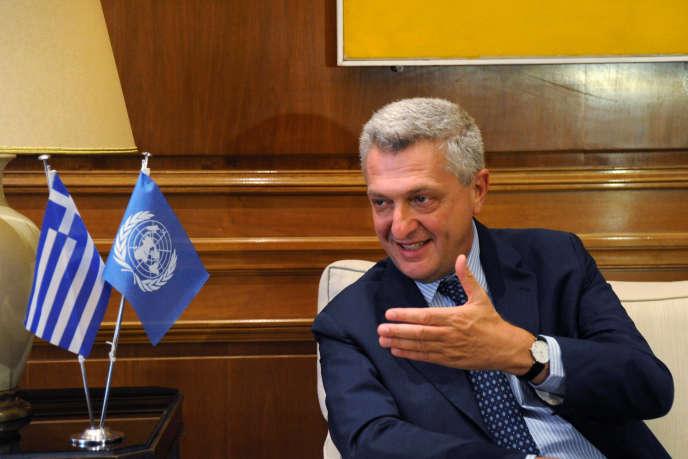 Le Haut-Commissaire aux réfugiés, Filippo Grandi, lors d'une rencontre avec le premier ministre grec,Alexis Tsipras, le 24 août 2016 à Athènes.