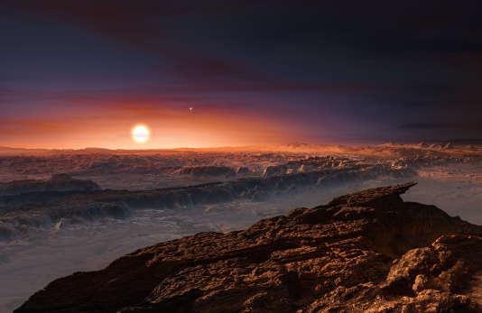 Vue d'artiste de la surface de la planète Proxima b, qui tourne autour de la naine rouge Proxima Centauri, l'étoile la plus proche du système solaire. On devine aussi les étoiles Alpha Centauri A et B, qui complètent le système stellaire du Centaure.