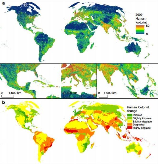 Ces cartes montrent l'intensité estimée des atteintes aux espèces vivantes sur la terre, l'empreinte humaine globale. La première reflète la situation en 2009. La seconde indique l'évolution des améliorations et desaggravationsentre 1993 et 2009.