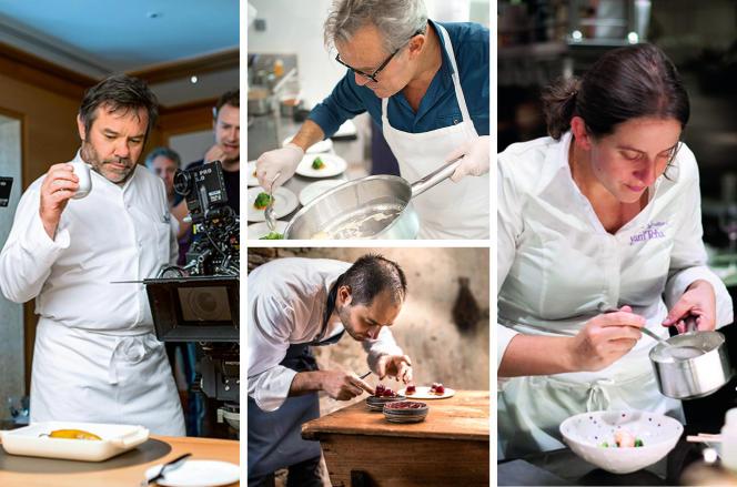 Michel Troisgros (à g.), Alain Passard (en haut), Alexandre Couillon et Adeline Grattard sont les héros de la nouvelle saison du documentaire « Chef's Table ».