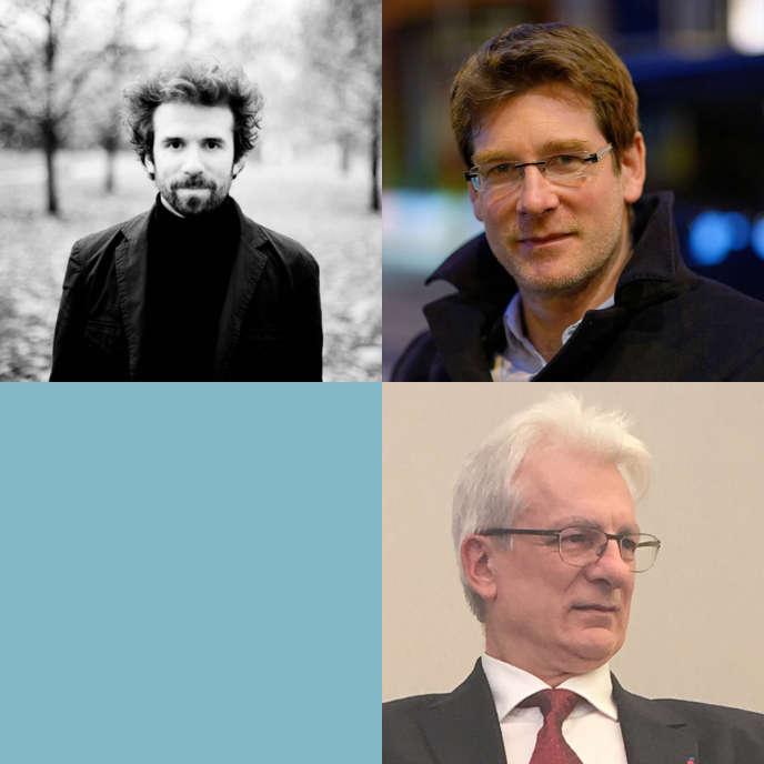 A gauche Cyril Dion, en haut à droite Pascal Canfin, en bas Dominique Bourg.