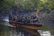 Le 15 août 2016, des soldats des Forces armées révolutionnaires de Colombie (FARC) sur la rivière Mecaya au sud du département de Putumayo en Colombie.
